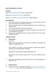 lease renewal letter deed of renewal of lease with guarantor