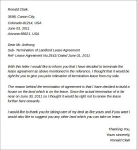 lease termination letter landlord to tenant termination of landlord lease agreement