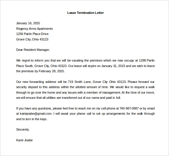 Lease Termination Letter  Template Business