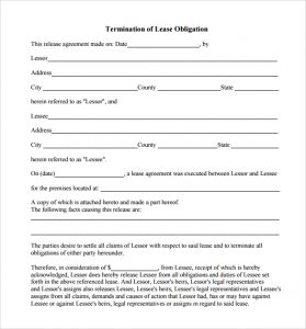 lease termination notice lease obligation termination form