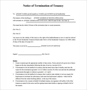 lease termination notice notice of termination of tenancy image