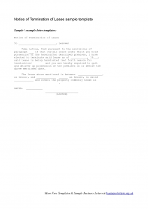 lease termination notice sample lease termination notice