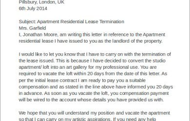 leasing agreement pdf apartment residential lease termination letter