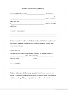 leasing application form free printable rental agreement rental agreement generic intended for free printable rental agreement