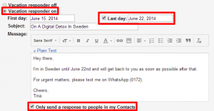 leave request emails vacation responder