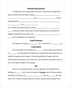 legal contract templates roommate rental agreement
