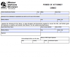 legal guardianship papers arizona motor vehicle power of attorney form