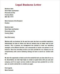 legal letter format legal business letter format
