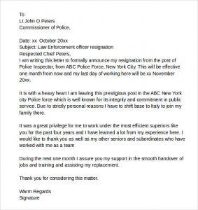 legal letters template law enforcement resignation letter
