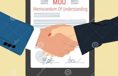 legal memo template handshake memorandum understanding vector concept mou man woman shaking hands background signed document seal flat