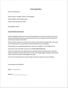 legal memo template legal action notice