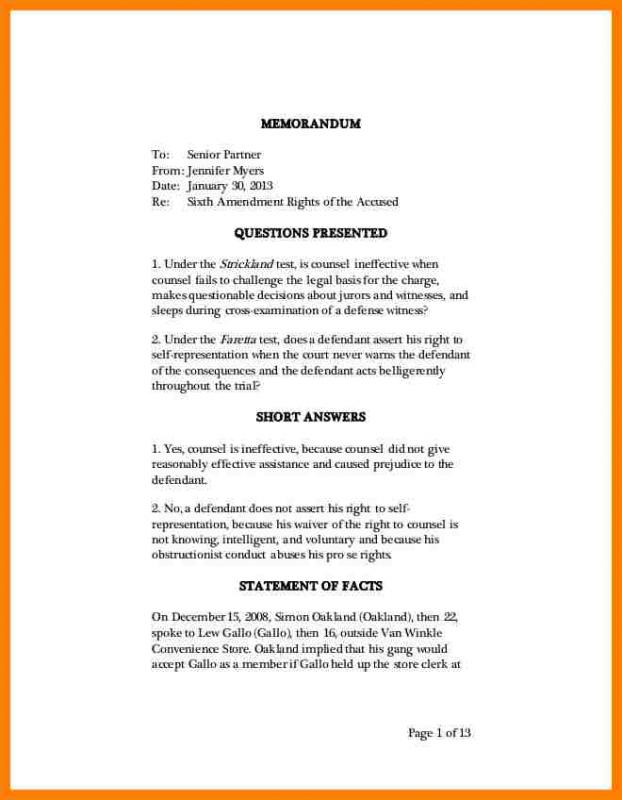 Legal Memo Format. Sample Legal Memorandum Format Memorandum Sample ...