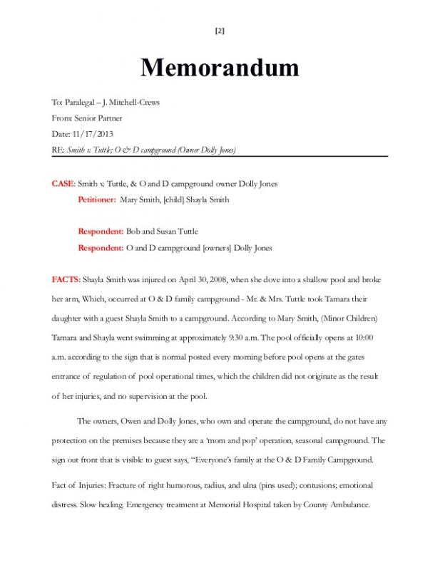 Legal Memorandum Example  Template Business