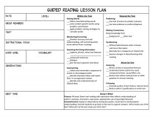 lesson plan format guided reading lesson plan universal template
