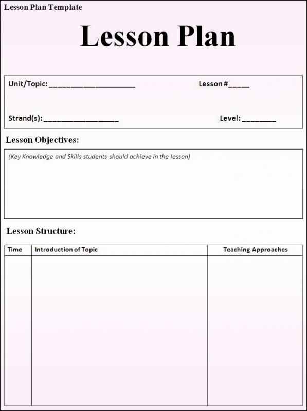Lesson Plan Format Template Business - Lesson plan free template