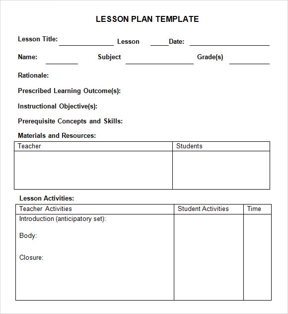 Lesson Plan Format  Template Business