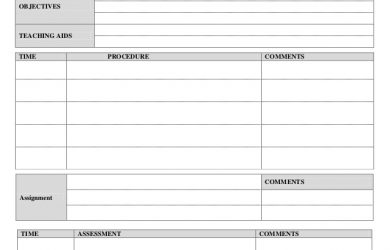 lesson plan template for preschool daily lesson plan form
