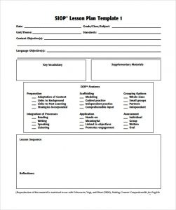lesson plan template pdf sample siop lesson plan template free pdf