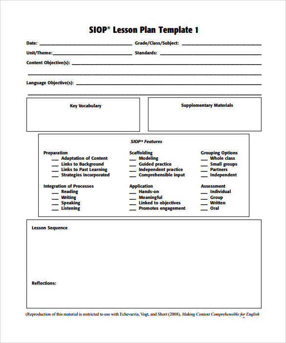 Lesson Plan Template Pdf Template Business