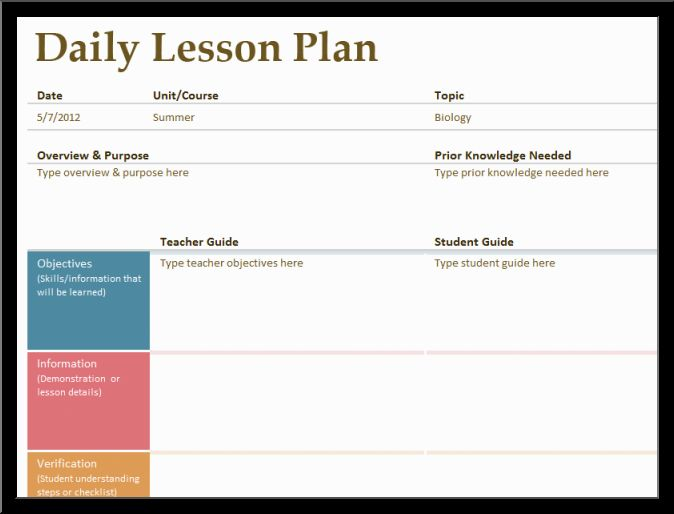 Lesson Plan Template Word  Template Business