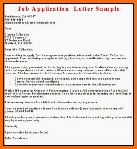 letter of application example job application letter sample