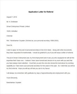 letter of application example sample application letter for referral