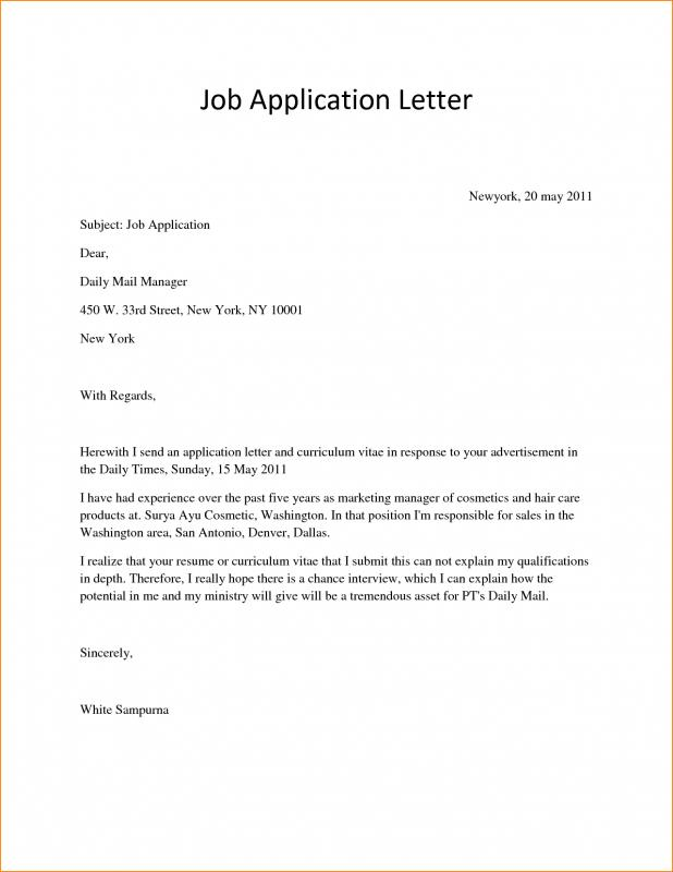 letter of application sample