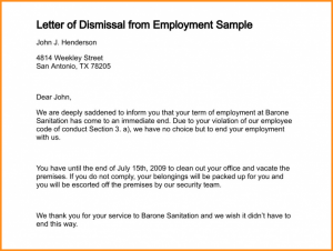 letter of complaint samples letter of termination of employment letter of dismissal from employment sample