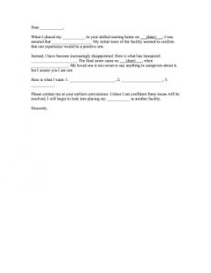 letter of complaint samples nursing home complaint letter fill in