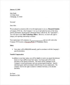 Letter Of Employment Offer Template Business