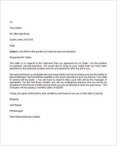 letter of employment offer job offer business letter