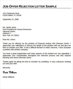 letter of employment offer job offer rejection letter template
