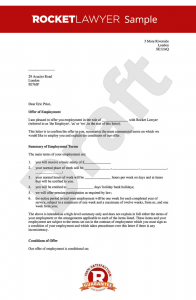 letter of employment offer offer of employment letter