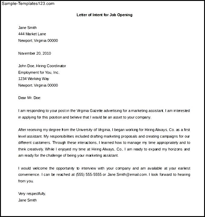letter of intent for a job - Job Opening Letter Of Intent