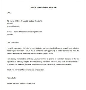 letter of intent for job letter of intent volunteer nurse job free editable doc