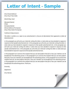 letter of intent format letter of intent sample image
