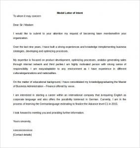 letter of intent format sample model letter of intent template word format