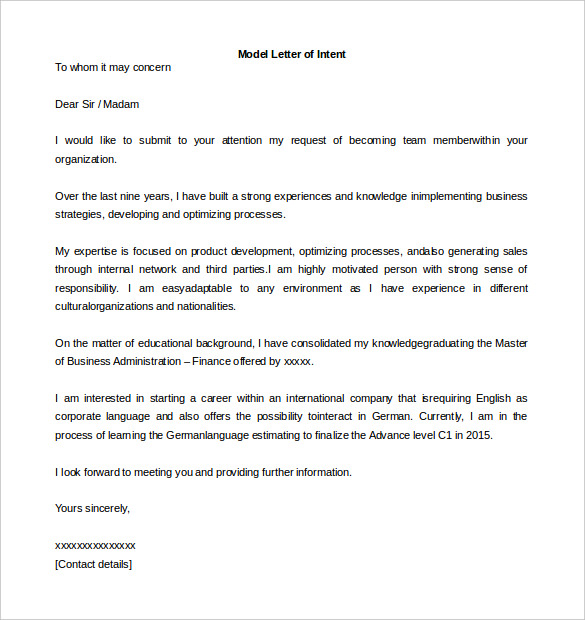 letter of intention format letter of intent format template business 22988 | letter of intent format sample model letter of intent template word format