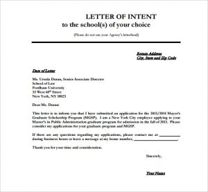 Letter Of Intent Format School Application Letter Of Intent Template Pdf  Download  Intent Letter Format