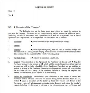 letter of intent real estate commercial real estate letter of intent template pdf download