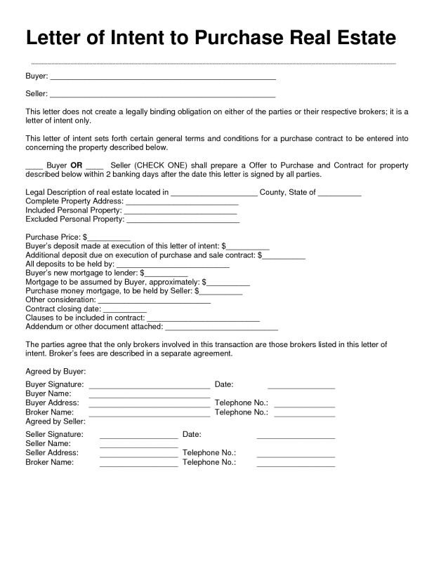letter of intent to purchase property template - letter of intent real estate template business