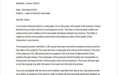 letter of intent real estate letter of intent real estate in doc