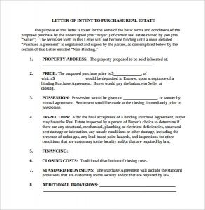 letter of intent real estate real estate purchase letter of intent template pdf printable