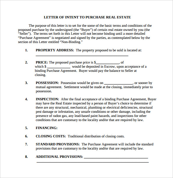real estate offer cover letter example - letter of intent real estate template business