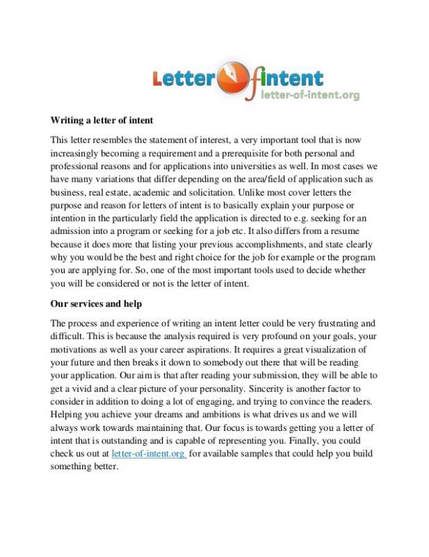 letter of intent residency