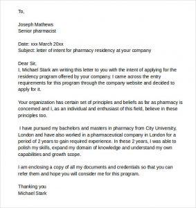 letter of intent residency pharmacy residency letter of intent