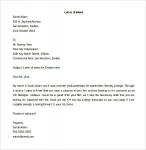 letter of intent sample 585600 10 letter of intent for a job templates free sample example
