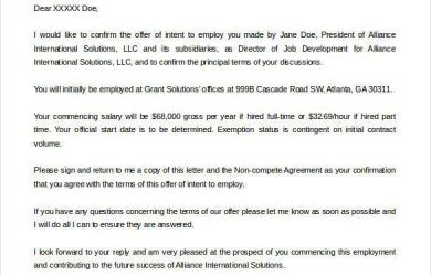 letter of intent sample sample letter of intent for employment1