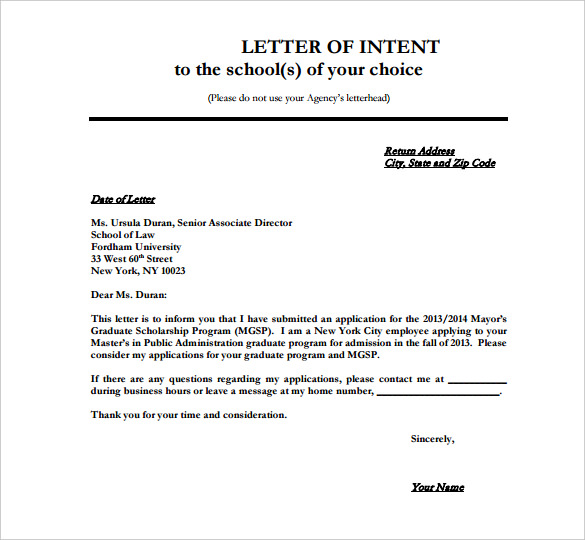 Loi Template Stunning Letter Of Intent Template  Template Business