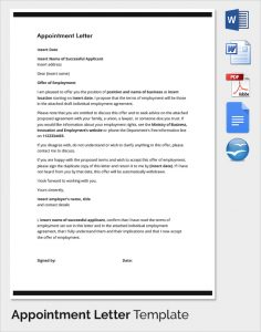 letter of intent to hire employee appointment letter template
